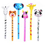 6pcs Inflatable Safari Animals Stick with Sound Jungle Animals Inflatables on a Stick Tiger Zebra Giraffe Elephant Toys Birthday Goody Bag Filler Party Favors Decorations