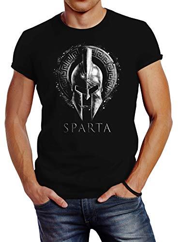 Neverless® Herren T-Shirt Aufdruck Sparta Helm Krieger Warrior Printshirt T-Shirt Used Look Slim Fit Fashion Streetstyle Schwarz schwarz M
