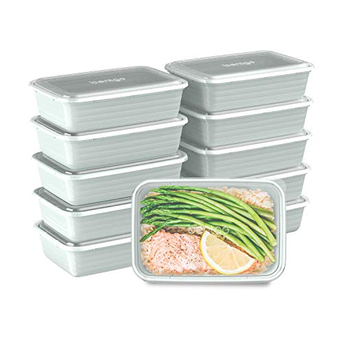 Bentgo Prep 1-Compartment Meal-Prep Containers with Custom-Fit Lids - Microwaveable, Durable, Reusable, BPA-Free, Freezer and Dishwasher Safe Food Storage Containers - 10 Trays & 10 Lids (Mint)