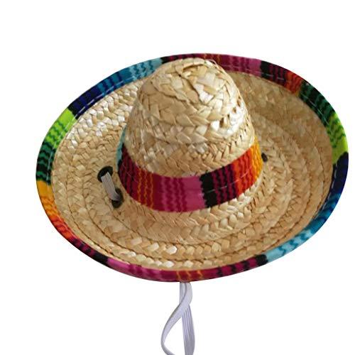 rongweiwang Paille tressée Multicolore Mexicaine Pet Chapeau de Soleil Corde Boucle réglable Jardin Seau Cap pour Petit Chien Chat