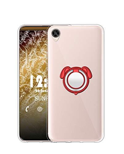 Sunrive Kompatibel mit Oppo R7s Hülle Silikon, 360°drehbarer Ständer Ring Fingerhalter Fingerhalterung Handyhülle Transparent Schutzhülle Etui Hülle (Farbe rot) MEHRWEG