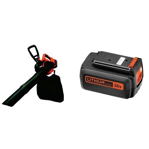 BLACK+DECKER GWC3600L20-QW Aspiratore/Soffiatore/Trituratore 3 in 1, a Batteria al Litio, 36 V, 2.0 Ah + BL20362-XJ Batteria al Litio, 36 V, 2.0 Ah