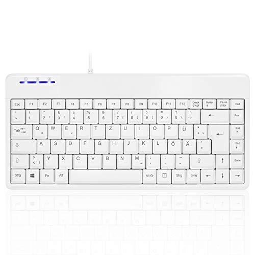 Perixx PERIBOARD-409 U Mini USB Tastatur, kabelgebunden, Kleines Praktisches Format, 1,80m Kabel, Weiß, QWERTZ Deutsches Layout