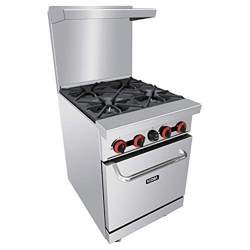 """4 Burner Commercial Gas Range  Heavy Duty Range With Standard Oven  24"""" Natural Gas Cooking Performance Group for Kitchen Restaurant  124 000 BTU"""