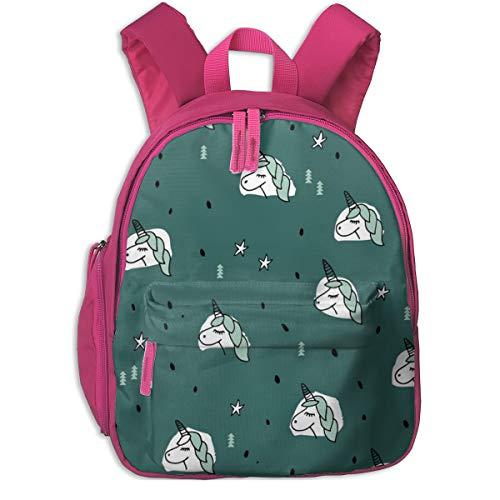 Kinderrucksack für Mädchen, Unicorn Sparkles and Stars Winter Snow Design Mädchen Weihnachten Kupfer Grün Blau Mint Large_4671 - littlesmilemakers, for Kinderschulen Oxford Tuch (pink)