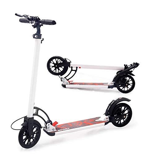 JSZHBC Plegable Adolescentes Bebés Vespa Edad Un Segundo Mecanismo de Plegado fácil, Ajustable Rango manillares de 91-105cm, hasta 150 kg, no eléctricos Scooter clásico (Color : White)
