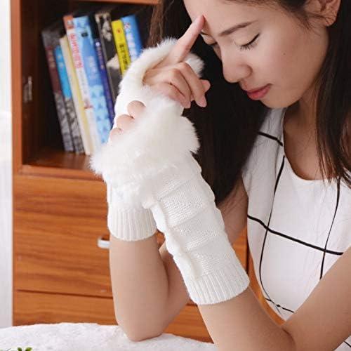 1Pair Fashion Women Faux Rabbit Fur Hand Wrist Crochet Knitted Fingerless Warmer Gloves Knitting Mittens Winter Autumn Warmer - (Color: D)