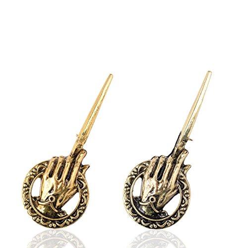 Tagoo Broche de mano del rey GOT para hombre, regalo sorpresa para el día de San Valentín, oro antiguo, bronce y plata