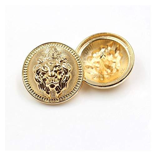 KGDUYH Botón de metal dorado con cabeza de león para ropa, suéter, abrigo, decoración, botones, accesorios, bricolaje, ropa y decoración (color: A, tamaño: 25 mm)