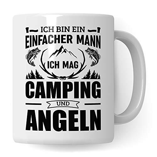 Pagma Druck Camping & Angel Tasse, Camper Angler Geschenke, Angeln Becher Fischen Fisch Campingurlaub Kaffeebecher, Kaffeetasse Geschenke für Fischer, Kaffeebecher Campingbus Spruch Geschenkidee