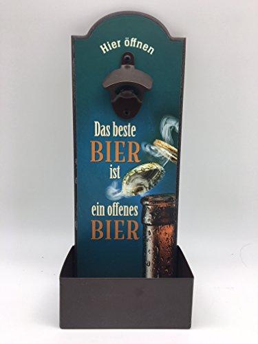 Blechwaren Fabrik Braunschweig GmbH Wandflaschenöffner - DAS Beste Bier IST EIN OFFENES Bier - Flaschenöffner für die Wand GRV006