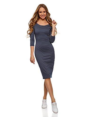 oodji Ultra Mujer Vestido Ajustado con Escote Barco, Azul, ES 36 / XS