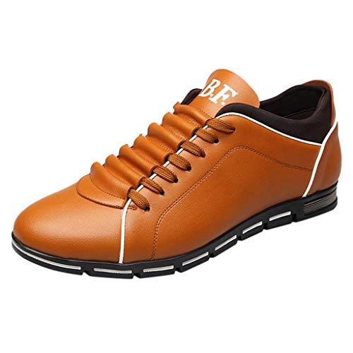 Dorical Herren Freizeit Schuhe, Männer Leder Business Anzugschuhe Halbschuhe Schnürer Oxford Derbys Lederschuhe Wasserdicht Flache Schnürhalbschuhe für Hochzeit Party Größe 38-48(Orange,44)