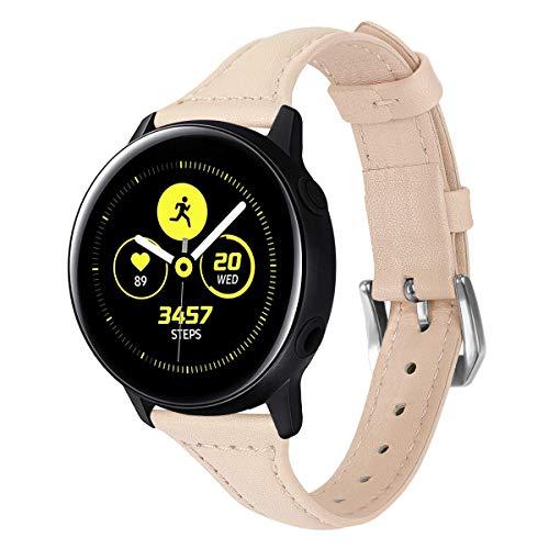 XZZTX Compatible avec Samsung Galaxy Regardez Les Bandes Actives, 20 mm Remplacement des Bandes en Cuir pour Galaxy Montre 42mm / Vitesse Sport/Garmin Vivomover HR Montre Smart Watch,Rose