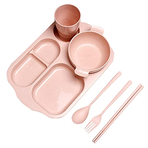 UPKOCH 6PCS/ Set- Friendly Wheat Straw Tableware Set Children Dinnerware Set Unbreakable Comes with Plate Bowl Cup Spoon Fork and Chopsticks (Pink)