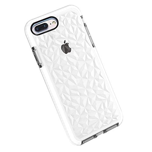Funda iPhone 8 Plus / 7 Plus, Carcasa Silicona Transparente Protector TPU Airbag Anti-Choque Ultra-Delgado Anti-arañazos Case 3D Modelo de Diamante Funda (iPhone 7 Plus / 8 Plus, Blanco)