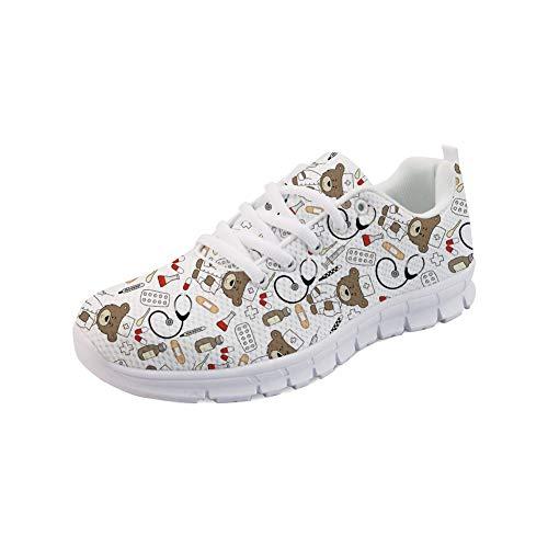 Nopersonality Damen Sportschuhe Straßenlaufschuhe Bequem Stilvoll Nurse Bear Sneakers Gym Fitness Leichte Schuhe - Cartoon Krankenschwester Bär (Weiß,Größe 40)