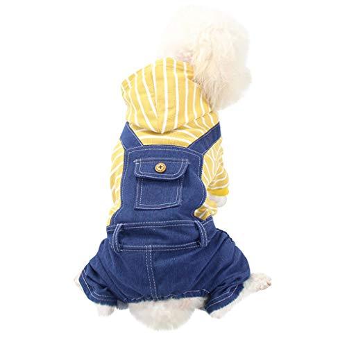 Hanomes Haustier Hund Kleidung Bulldogge Klassisch Streifen Sweatshirt Welpen Kostüm Jacke für Kleine Hund Schlafanzug