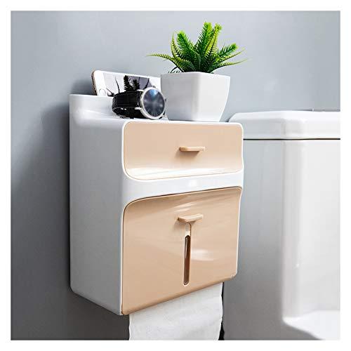 WXXSL ABS Porta Carta Igienica, Impermeabile Doppio Strato Porta Rotolo Carta Igienica Interruttore Magnetico Deposito Tessuto Bagno 21,5×12×26cm,Champagne