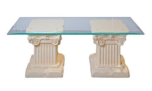 Antikes Wohndesign Couchtisch Wohnzimmertisch Glastisch Säulentisch Steintisch