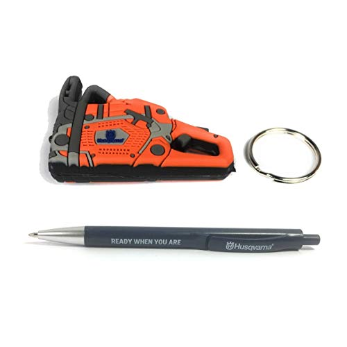 Husqvarna Schlüsselanhänger Motorsäge, Cover mit LED Licht, Key Protect, Kugelschreiber