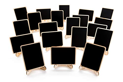 20 Pack Wood Mini Chalkboards Signs with Support Easels, Place Cards, Small Rectangle Chalkboards Blackboard for Weddings, Birthday Parties, Message Board Signs and Event Decorations