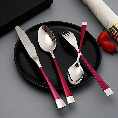 Set de Cubiertos de 24 Piezas, Plata roja Juego de Cubiertos de Cuchara de Tenedor de Cuchillo de Acero Inoxidable 304 Ideal para Restaurante Temático, Hotel, Fiestas