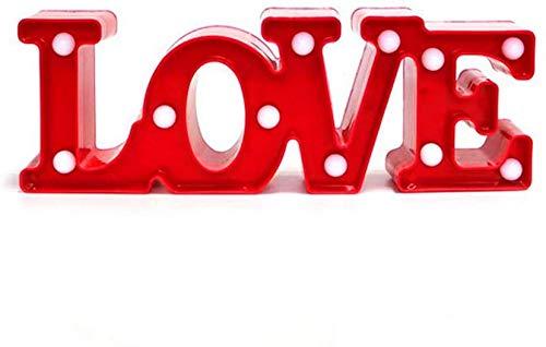 LOVE Lámpara de Mesa, Luz Love con Luces LED Lámpara de Tabla Lámpara de Noche Lámparas decorativas para Navidad de fiesta de Sala de Hogar Decoración de Pared - LOVE (Rojo)