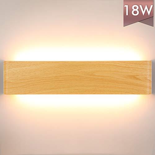Lightess 18W LED Wandleuchte Holz Innen Wandlampe Modern Treppenhaus Beleuchtung Wand Flrulampe Wandbeleuchtung Warmweiss Up Down Licht Holzfarbe Rustikal Vintage 40cm