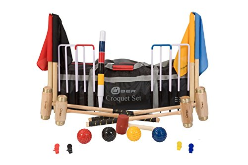 Übergames Hochwertiges ECO-Hartholz Junior Excecutive Krocket Set mit 4 Schlägern aus engl. Esche und 4 Holzbällen, mit Nylontasche