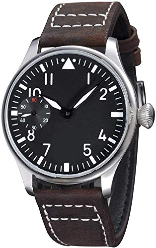 Hand Wind Mechanical for Men Pilot Classic Analog Watch with Black Dial Luminous Dark Brown Leather...