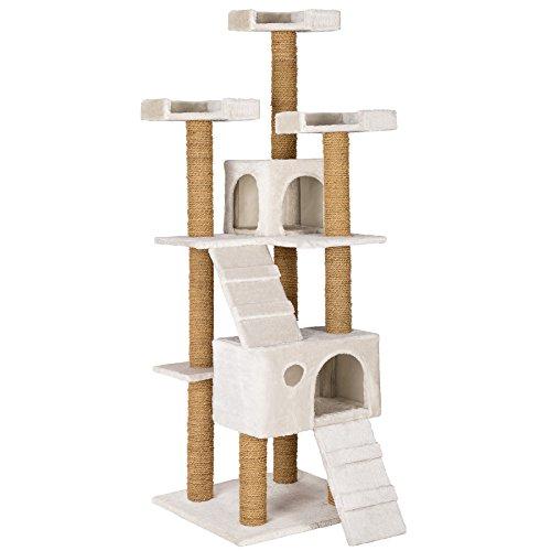 TecTake Katzen Kratzbaum Katzenbaum mittelhoch | Stämme komplett mit Kokosseil umwickelt | 2 Höhlen - Diverse Farben - (Weiss | Nr. 402194)