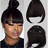 Clip in Bangs Fringe Real Human Hair One Piece 1B Natural Black 100% Real Brazilian Hair Extensions For Black Women 6-8inches