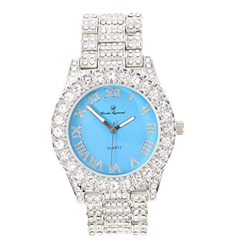 Mens Silver Big Rocks with Roman Numerals Fully Iced Out Colorful Dial Watch - ST10327 RN Single (Silver Baby Blue)