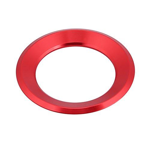 Keenso Auto Lenkrad Ring Aufkleber, Lenkradabdeckung Trim Aluminium Chromlegierung Dekoration Aufkleber(rot)