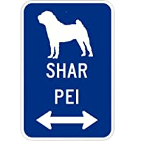 SHAR PEI マグネットサイン ブルー:シャーペイ(小) シルエットイラスト&矢印 英語標識デザイン Water Resistant&UV Coat