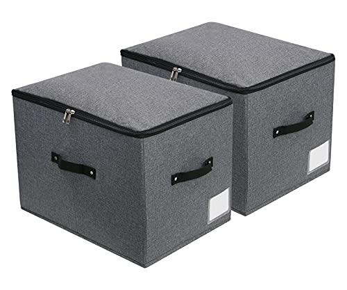 Caja de almacenamiento de tela rígida plegable con tapa de cremallera, mango, organizador de ropa de cama para armario, lavable, juego de 2, 44x33x31cm, negro gris
