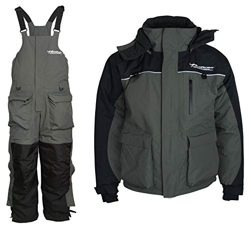WindRider Ice Fishing Suit | Insulated Bibs and Jacket | Flotation | Tons of Pockets | Adjustable Inseam | Reflective Piping | Waterproof Gear for Ice Fishing and Snowmobiling (Large)