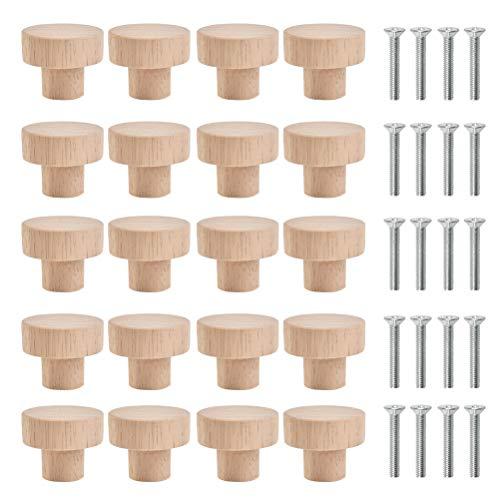 CENBEN Manopole Rotonde in Legno per Porte da 20 Pezzi Manopole per Armadietti 3x2,5 cm Manopole Rotonde in Legno per Cassetti