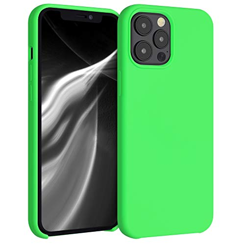 kwmobile TPU Silicone Case Compatible with Apple iPhone 12 Pro Max - Soft Flexible Rubber Protective Cover - Lime Green