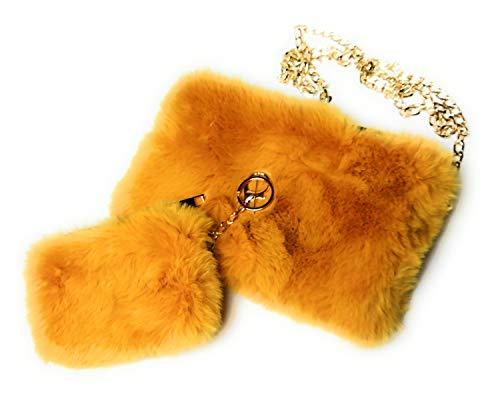 KGM Accessories - Juego de bolso de piel sintética suave y esponjosa, Mostaza