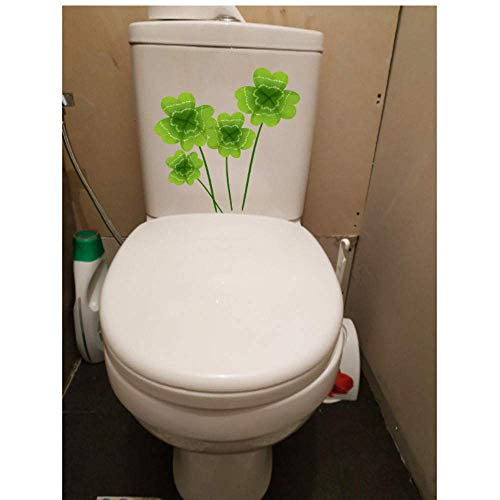Muursticker Groene Plant Klaver Verse Cartoon Muursticker Wc Toilet Stoel Stickers 21.8x22.2Cm