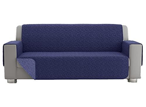Copridivano 2 posti, telo copridivano 3 posti, copri divano universale trapuntato reversibile, fodera protettiva per divano double face (2 posti, Blu)