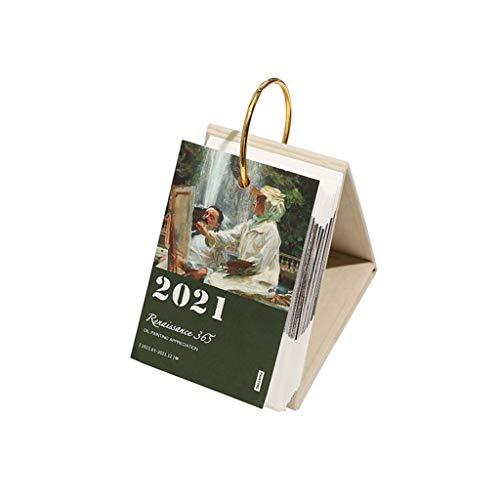 GXJ Elegante Calendario de Escritorio de pie 2021 día a día con Soporte de Flip, Pintura al óleo clásica, calendarios Diarios de pie, 10,3 x 17 cm Decoración de Escritorio