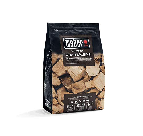 Weber 17619 Wood Chunks Räucherchips Hickoryholz, 1,5 kg, intensive Raucharoma, Räuchern, Aroma, Grillen