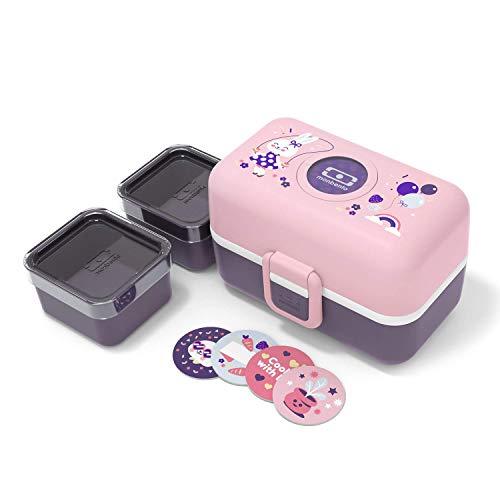 monbento - Brotdose Einhorn Kinder mit Trennwand - Bento Box Kids mit Fächer - Individuell Gestaltbar - Snack Box (Bento für Kinder, Rosa Bunny)