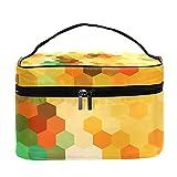 Bolsa de maquillaje de viaje con diseño geométrico de panal de abeja, grande, bolsa de maquillaje, organizador con cremallera, para mujeres y niñas