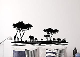Pegatina pared vinilo selva sabana ideal diseño en negro