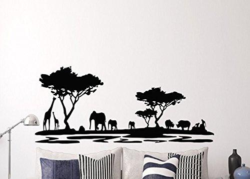 Pegatina pared vinilo selva sabana ideal diseño en negro animales safari para salones, cabecero de cama, loft, aticos, escaparates decorativo 1.50 X 60 cm de CHIPYHOME