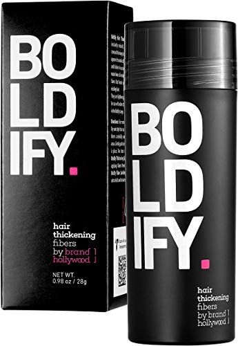 BOLDIFY Hair Fibers for Thinning Hair (BLACK) Undetectable & Natural - Giant 28g Bottle - Completely Conceals Hair Loss in 15 Sec - Hair Thickener & Topper for Fine Hair for Women & Men​